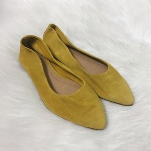 Anthropologie Mustard Yellow Suede Point Toe Flats